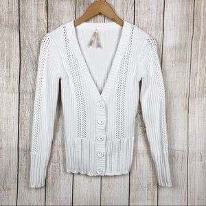 High Sierra White Knitted Sweater Cardigan S